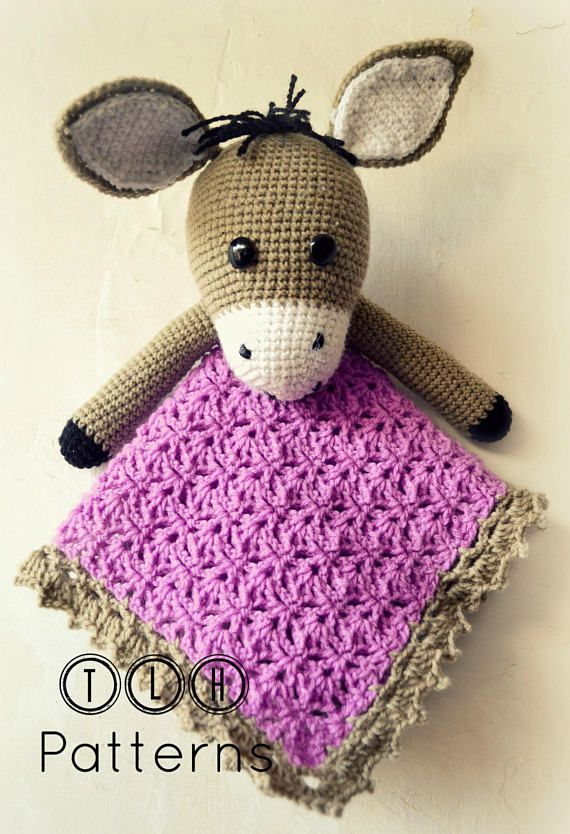 Crochet lovey pattern, crochet security blanket, donkey security blanket, donkey lovey pattern, pattern no. 104 #crochetsecurityblanket
