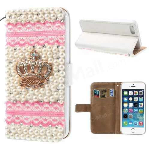 Pink for iPhone 5s 5 Lace Pearl 3D Rhinestone Crown Card Slot Leather Cover Stand