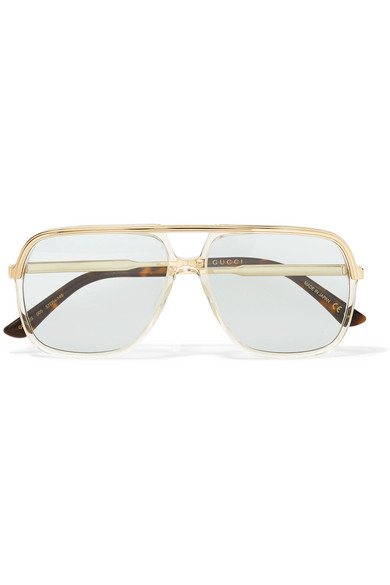 b03d9274ba1 Gucci - Squared Aviator-style Gold-tone And Acetate Sunglasses - Blue