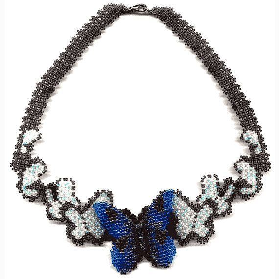 PATTERN seed beaded butterfly necklace detailed instructions beading netting flat square stitch original design beading tutorial beads loom