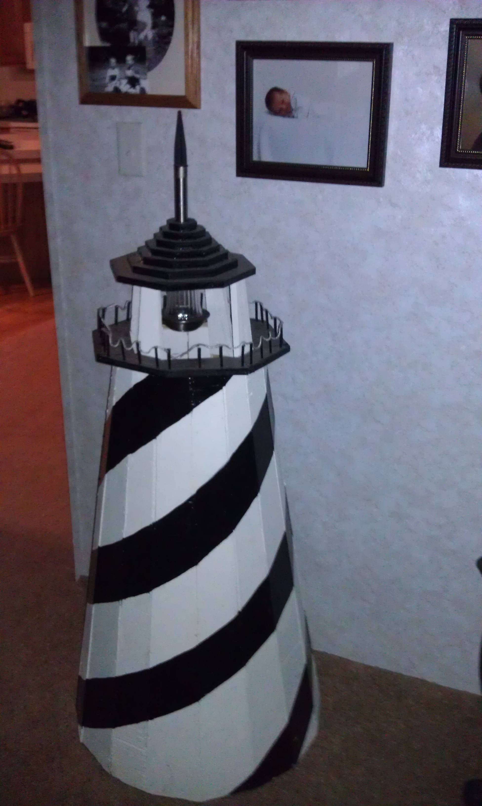 Diy make a clay pot lighthouse diy craft projects - Lighthouse For School Project Has A Solar Lamp Upside Down Through Top