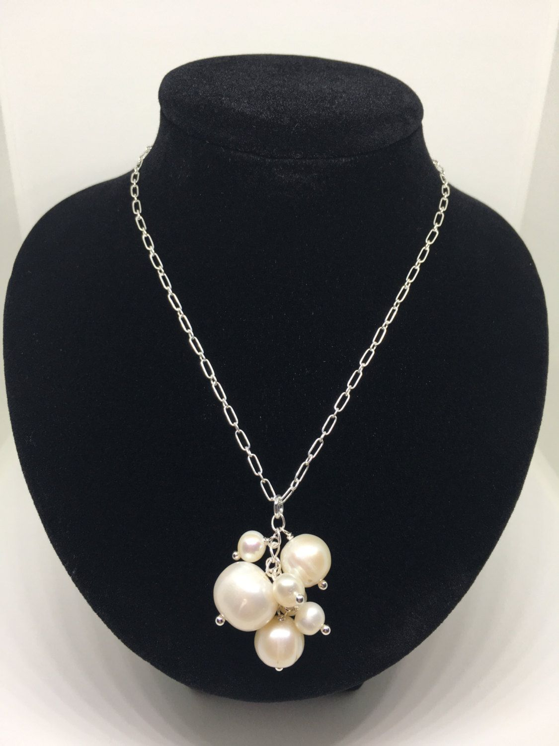Pearl Necklace Sterling Silver Bridal Wedding June Etsy