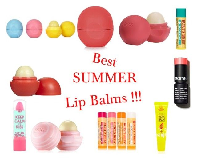 """""""Best summer lip balms !!!"""" by jeanne-cute-smiles ❤ liked on Polyvore featuring beleza, Eos, Topshop, Sonia Kashuk, Rimmel e Burt's Bees"""