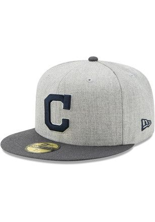 best website c67e7 3cdf2 Cleveland Indians New Era Mens Grey Heather Action Fitted 59FIFTY Fitted Hat