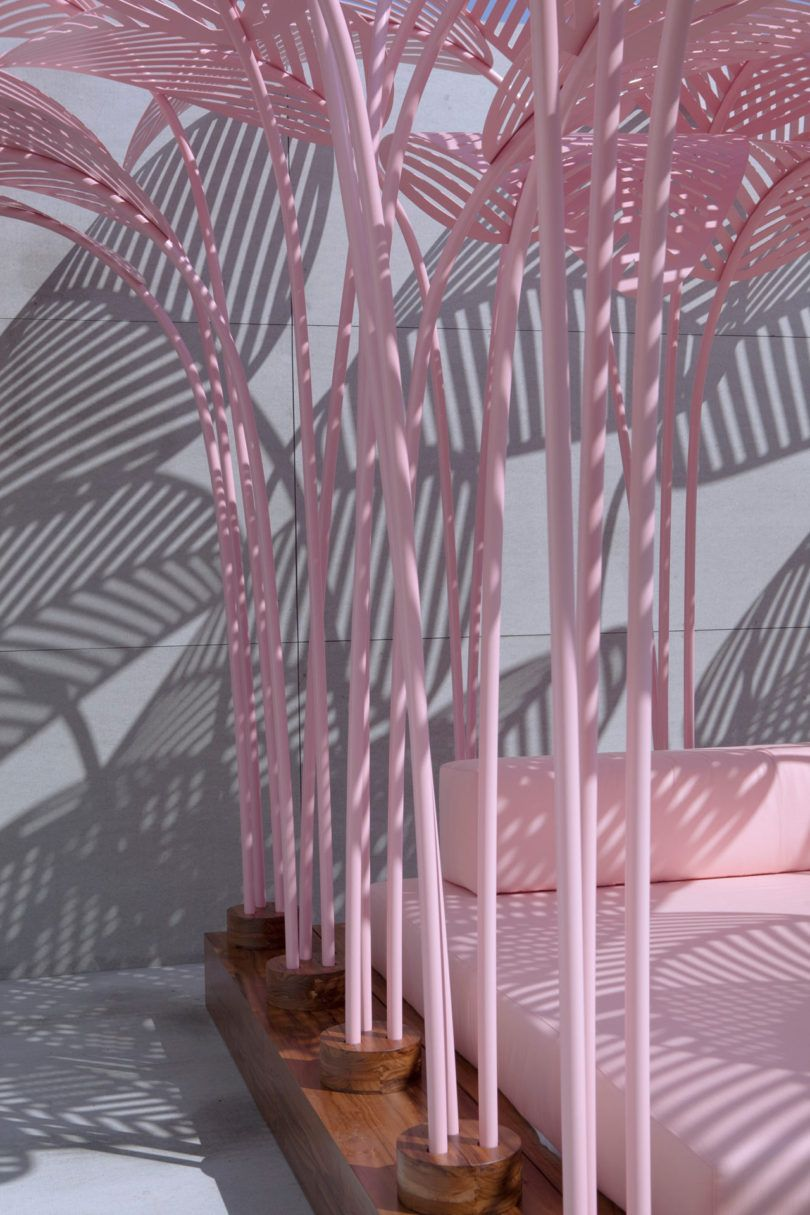 The most Instagrammed piece at Milan Design Week? Le Refuge, a pink, jungle-like daybed designed by Marc Ange.