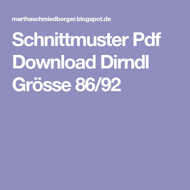 Schnittmuster Pdf Download Dirndl Grösse 86/92 | Nähen für kinder ...