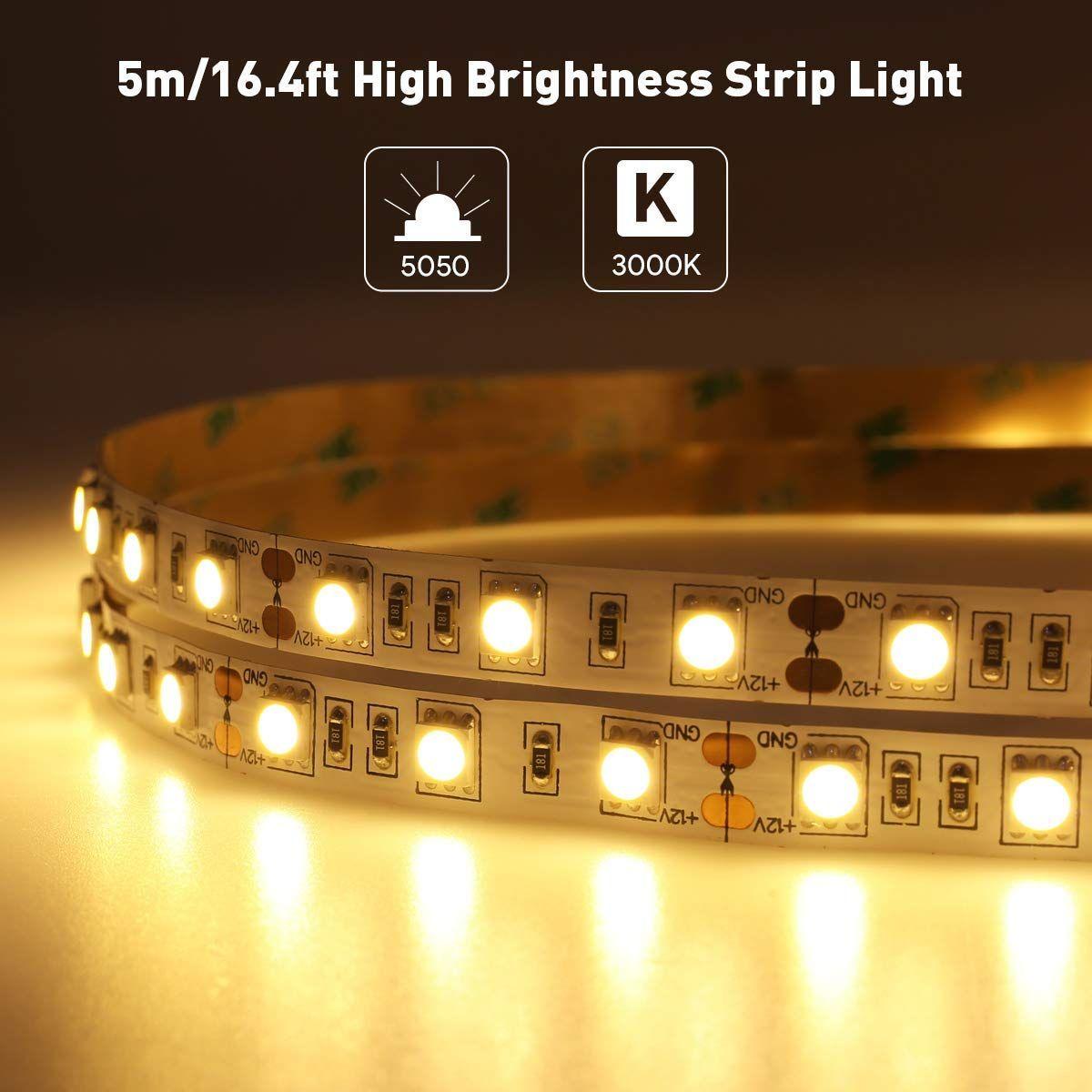Led Strip Lights Smd5050 Warm White 3000k 16 4ft For Christmas Decor Strip Lighting Led Strip Lighting Led Tape Lighting