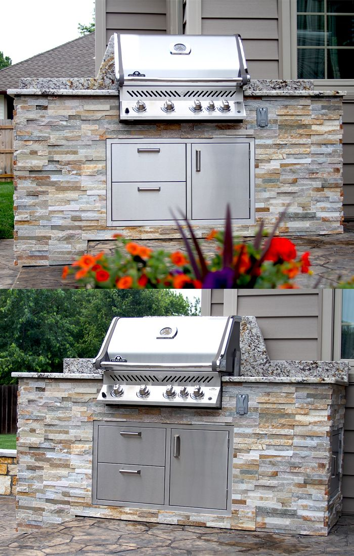 This Custom Kitchen Features A Napoleon Grills Pro500rb Grill Head And Custom Storage Under The G Outdoor Cooking Spaces Small Outdoor Kitchens Outdoor Kitchen