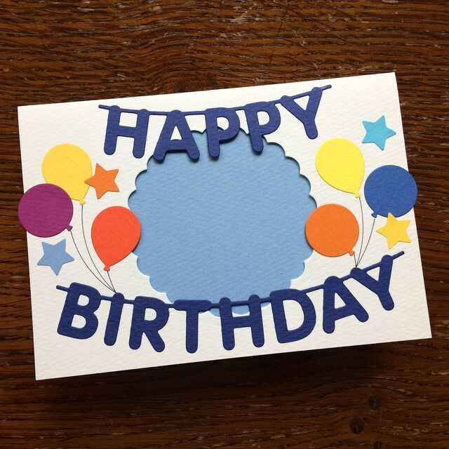 写真が見える窓開きハッピーバースデーカード 誕生日カード 紺文字 2020 バースデーカード 誕生カード 誕生日 メッセージカード 手作り
