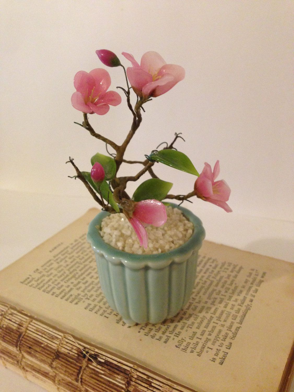 Small Asian Flower Arrangement Plastic Cherry Blossom Tree With Blue Ribbed Glass Vase Mini Bonsai Tree V Asian Flowers Flower Arrangements Cherry Blossom Tree