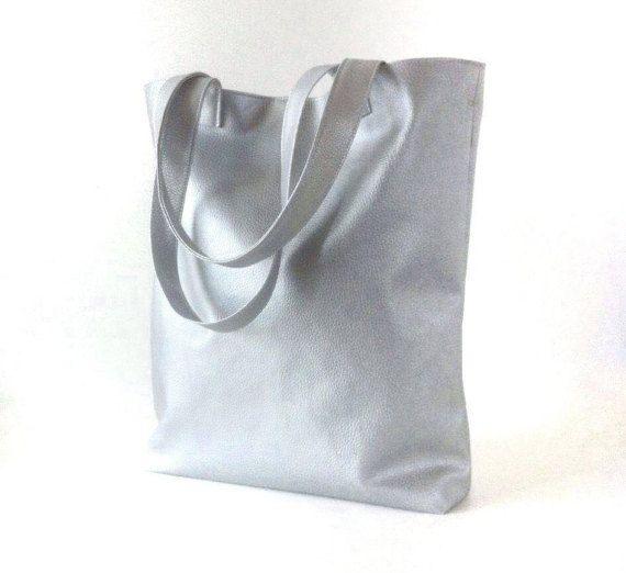Vegan Silver leather tote minimalist bag metallic by PittiVintage