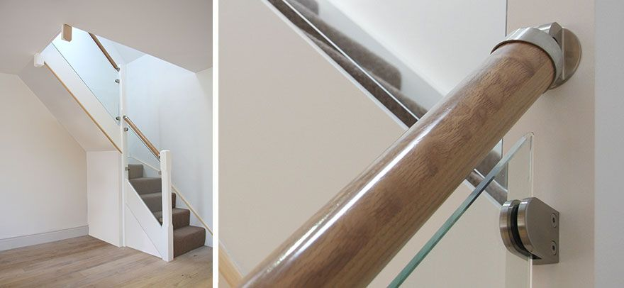 TwoTwenty Stairs, Contemporary glass and oak staircase