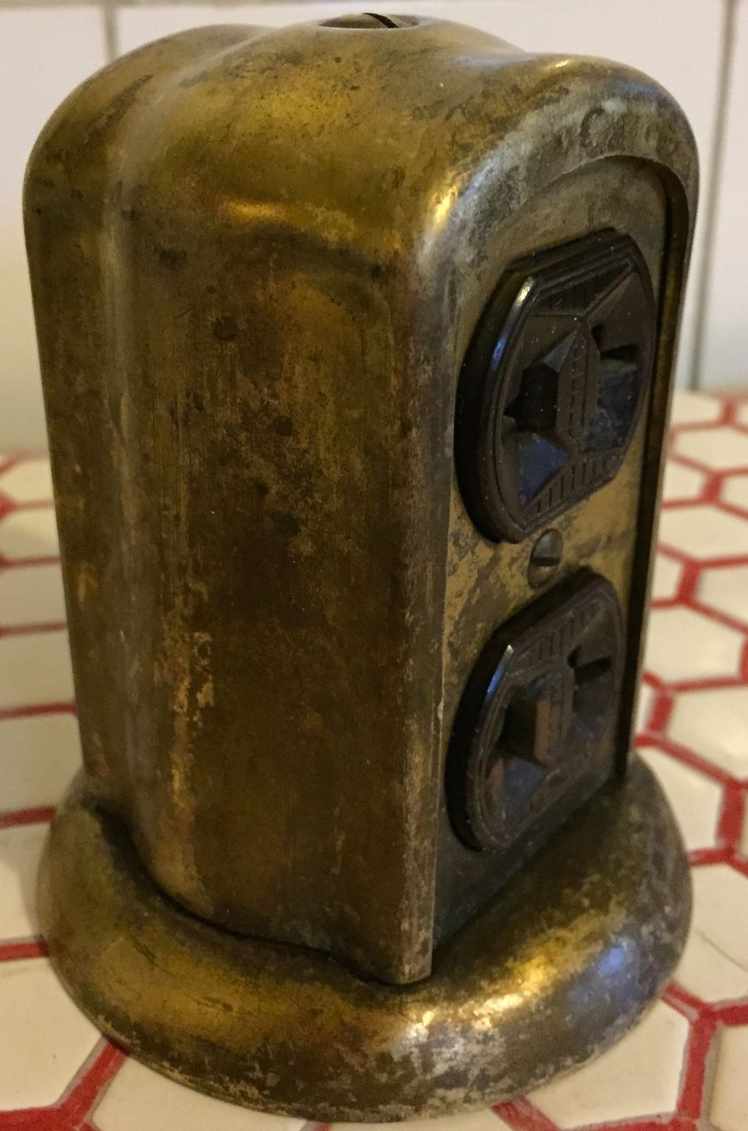 vintage 1920s 20s deco brass tombstone floor desk mount electrical outlet by ne
