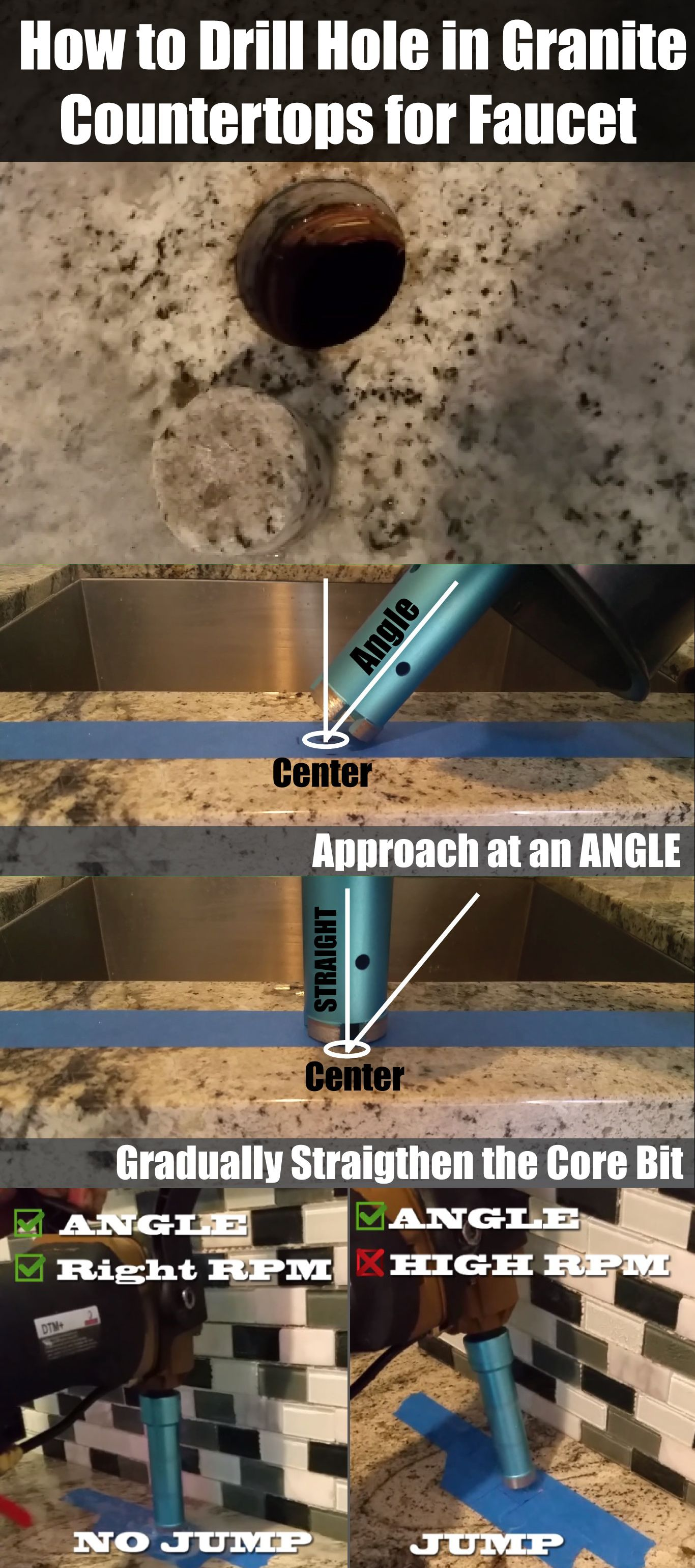 How to drill hole in granite concrete countertops tiles