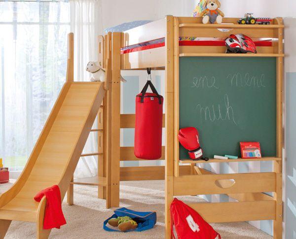 Loft Bed With Slide Chalkboard Kid Room Decor Kids Loft Beds
