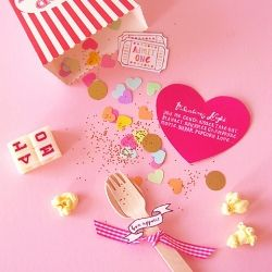 Make your Valentine a Popcorn Invitation pack for a lovely indoor picnic and movie night!   {DIY Instructions included!}