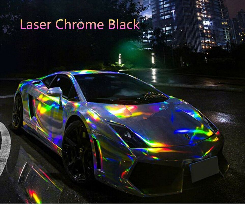 Sponsored Ebay Black Laser Holographic Car Wrap Vinyl Chrome