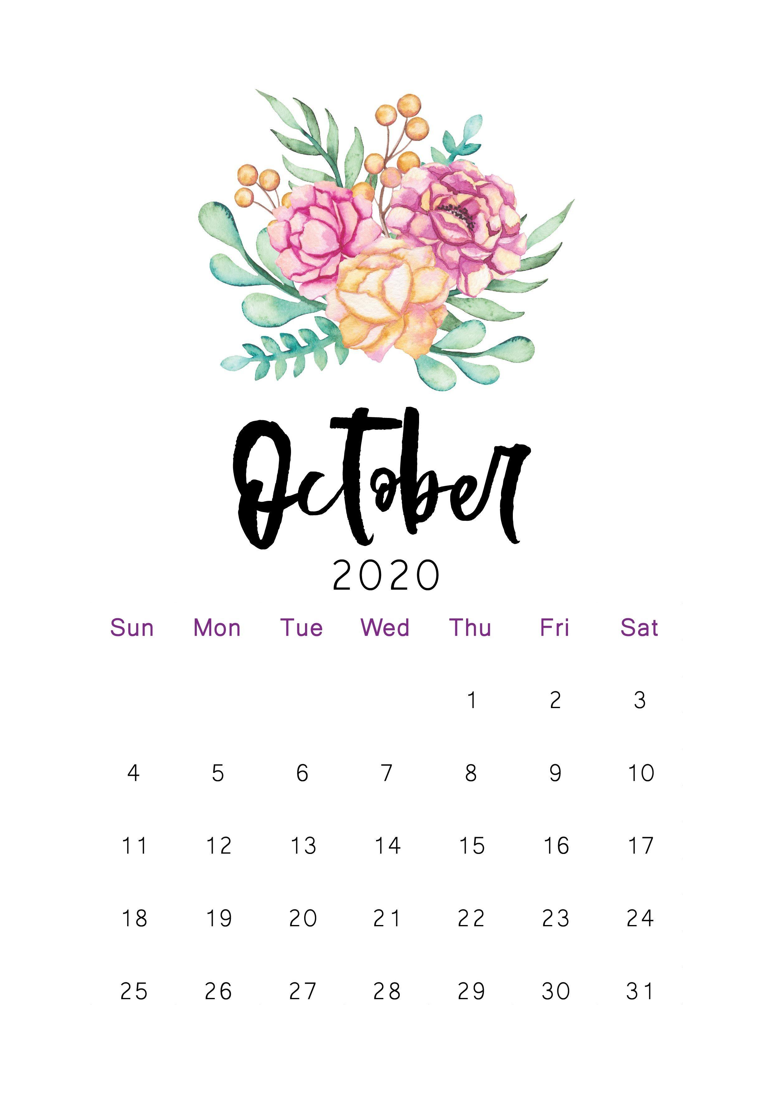 October 2020 Printable Calendar Kartu, Desain, Gambar