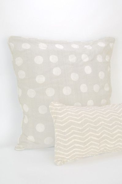 "30"" Polka Dotted Pillow & Zig Zag Grey Pillow - organic Malian cotton & natural mud dyes."