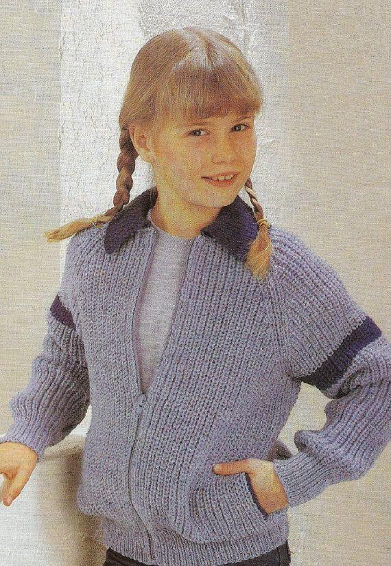 Vintage Knitting Pattern Pdf Childrens Zipper By Estherkatevintage