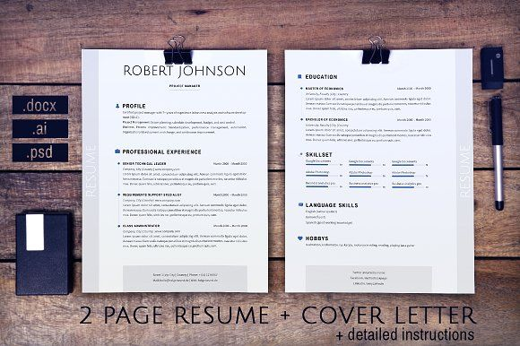2 pages resume and cover letter USA by Designed in Berlin on