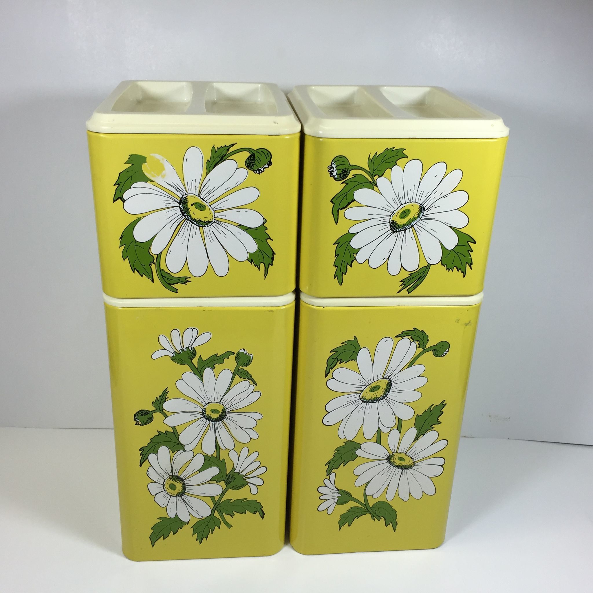 Retro Daisy Stacking Metal Kitchen Canister Set In Sunny
