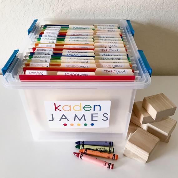 School Work Filing System Organization Labels Water Resistant Custom Name Label Stickers Set Of 61 Swk Kids School Organization