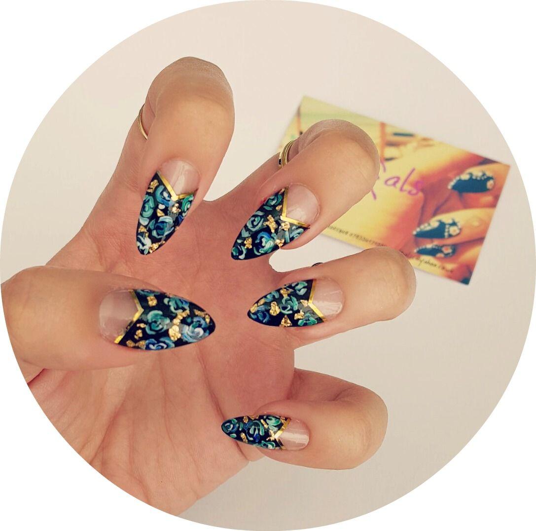 gold leaf and blue roses stiletto nails www.nailgals.com #stilettonails #glueonnails #falsenails #floralnails #funkynails