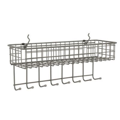 Spectrum Pegboard Wire Basket And Hook Station In Grey Pegboard Baskets Peg Board Baskets On Wall