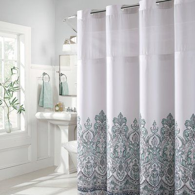 Bungalow Rose Pilning Damask Border Print Shower Curtain Color