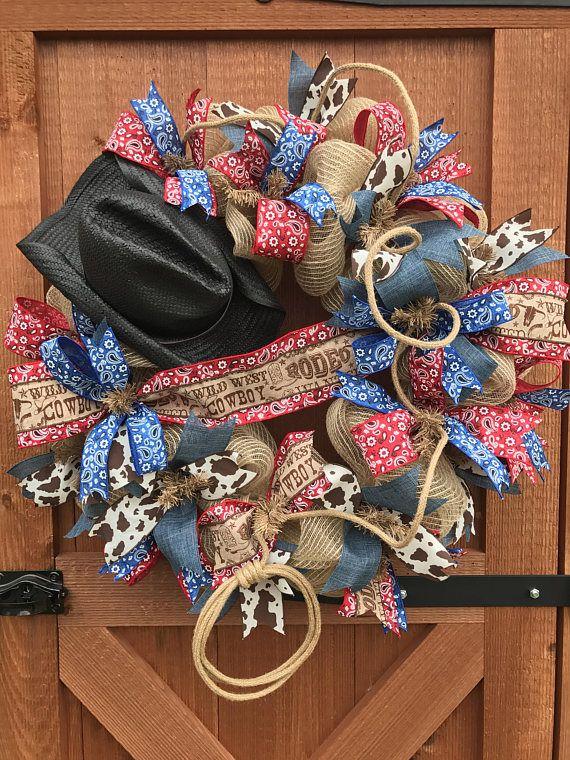 Cowboy wreath farm wreath country Western wreath Rodeo ...
