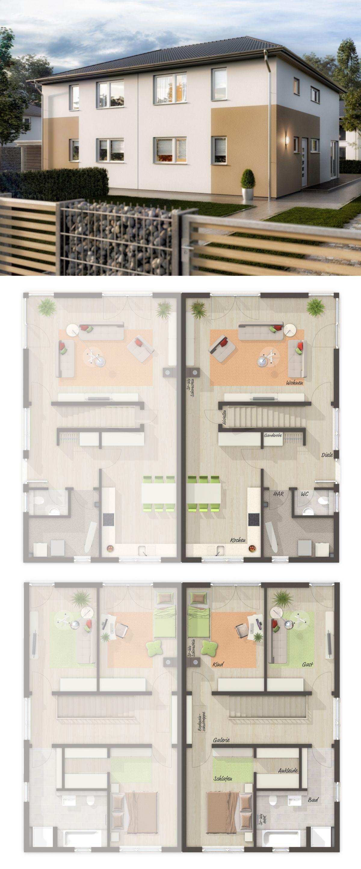 Doppelhaushälfte modern Grundriss mit Walmdach Architektur