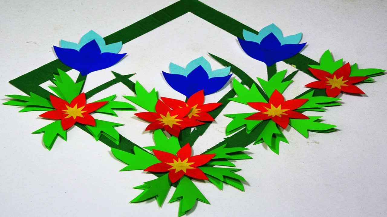 Paper Flower Wall Hanging Colored Paper Cut Wall Art Ideas Diy