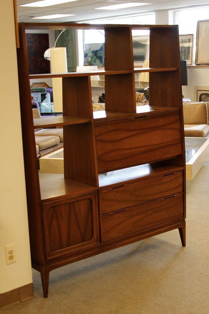 Modern Walnut Living Room Furniture: Details About Secretary Desk Wall Unit Mid Century Modern