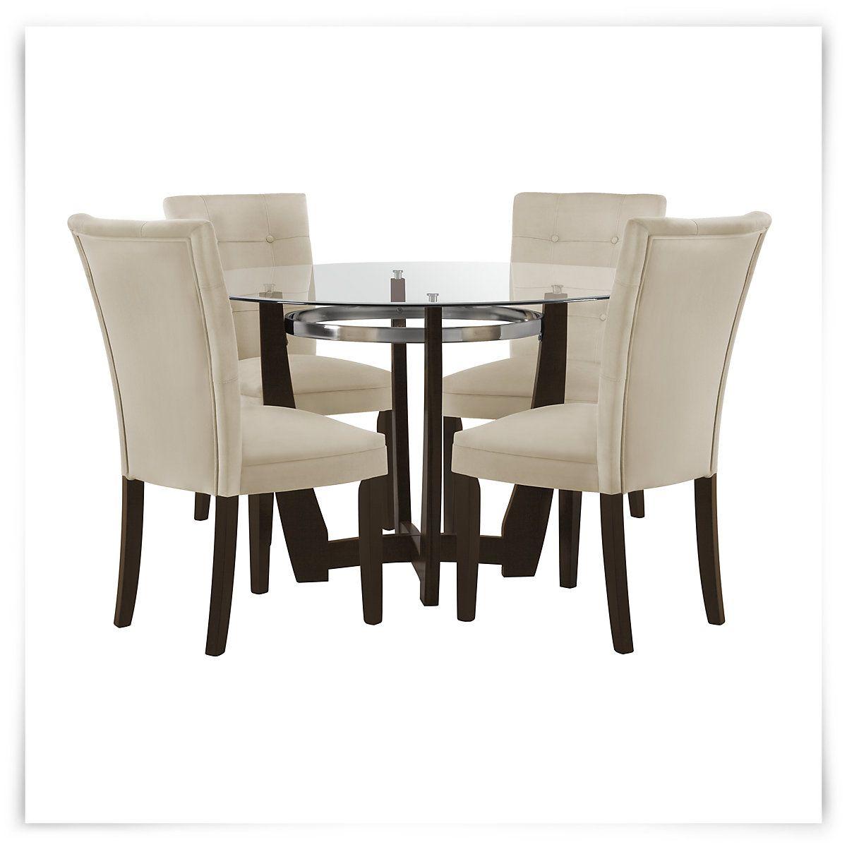 Matinee Dark Tone Round Table & 4 Upholstered Chairs