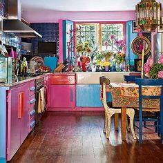 dekoration, bohemian kitchen and pink kitchens on pinterest