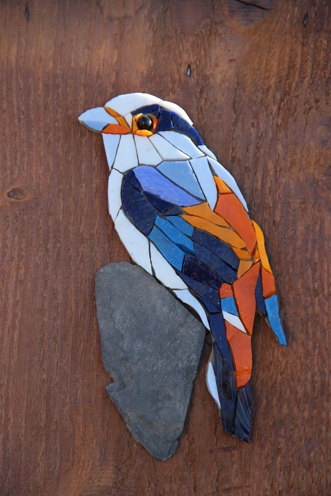 TIMEO Range key storage decor, key ring, mosaic painting, bird, mosaic, wood