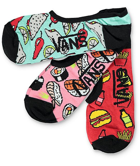b6b9c4bc23 Vans 3 Pack Munchies Canoodle No Show Socks in 2019 | accessories ...