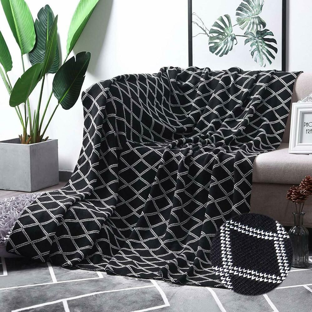 Moma 100 Cotton Black Cable Knit Throw Blanket For Couch Bed Sofa