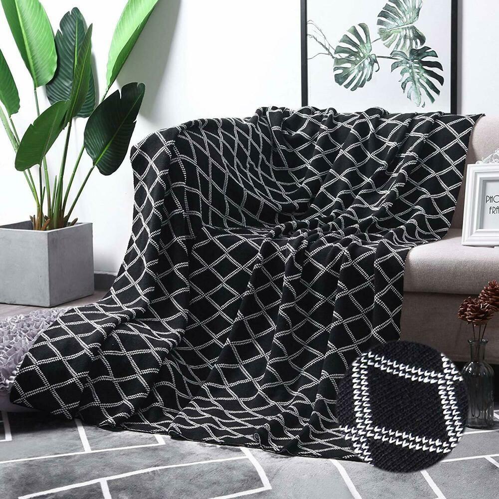 Peachy Moma 100 Cotton Black Cable Knit Throw Blanket For Couch Creativecarmelina Interior Chair Design Creativecarmelinacom