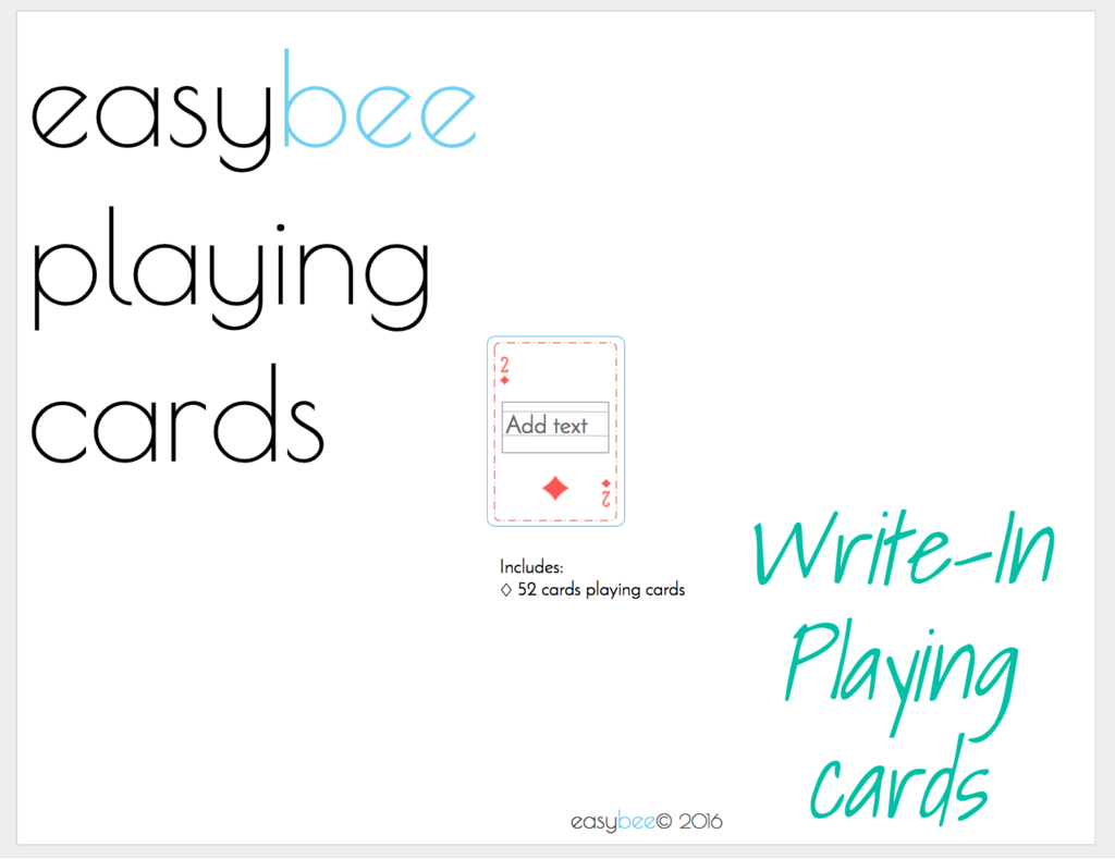 jff printable mini playing cards- write in | pinterest | playing