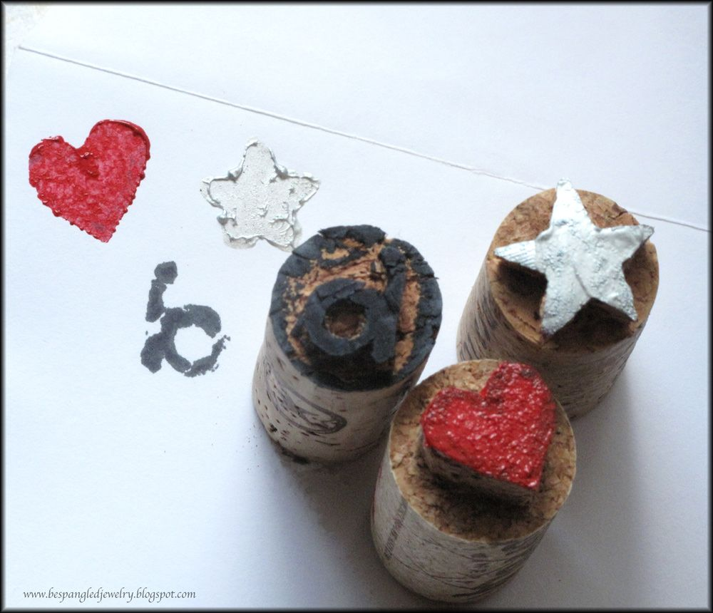 Bespangled Jewelry: Upcycled Wine Corks; Make Your Own Adorable Handcarved Stamps!