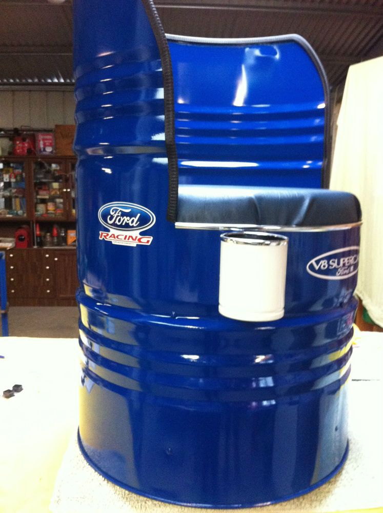 ford racing converted 44 gallon oil drum chair ideas pinterest gartenlampen aussenk che. Black Bedroom Furniture Sets. Home Design Ideas