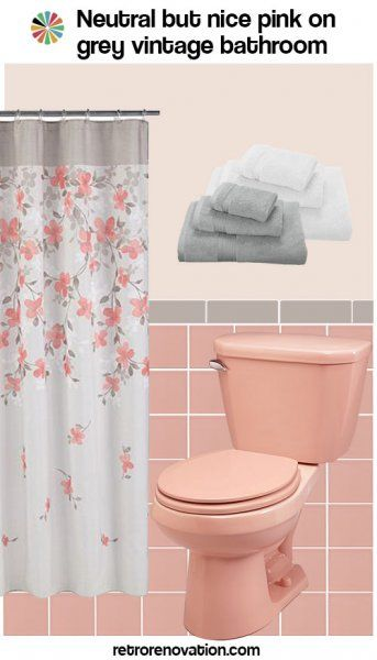 Pink Bathroom Gray Decor, Grey And Peach Bathroom Ideas
