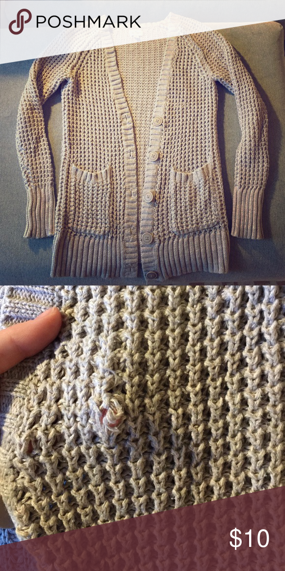 Oatmeal cardigan Oatmeal cardigan 26in long. Good condition except in the front one of the stitchings were cut/loose (see picture) American Eagle Outfitters Tops