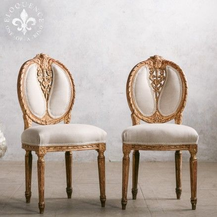 Ornate Louisa XV Style Sidechairs in Gilt Finish with White Undercoat Showing Through