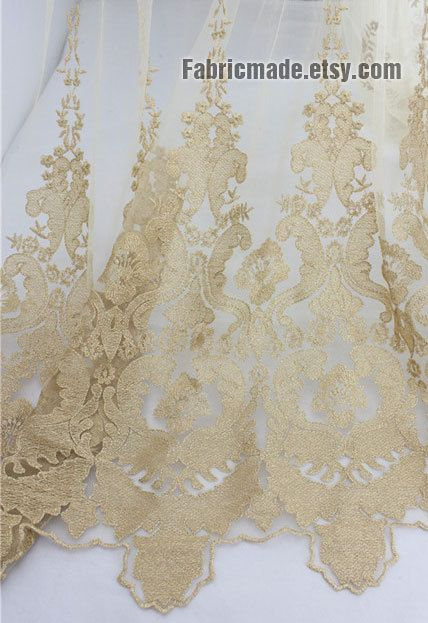 Gold Lace By Fabricmade On Etsy Com Lace Fabric Bridal Lace Lace Fashion