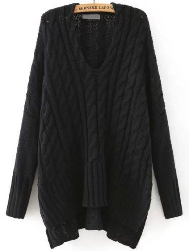 Black V Neck Cable Knit Loose Sweater