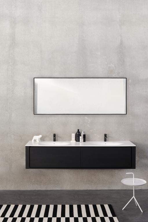 Ethnicraft Oak Qualitime Black Bathroom Basin Black White