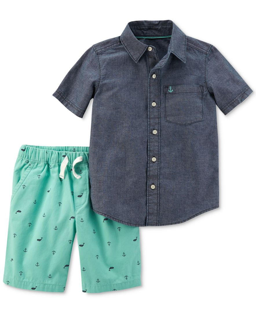 c757189742ed Carter's 2-Pc. Cotton Chambray Shirt & Schiffli Shorts Set, Baby Boys (0-24  months)